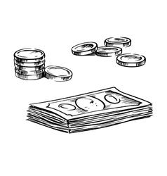 coins and stacks dollar bills sketches vector image