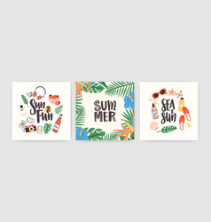 Collection of square summer cards with lettering vector