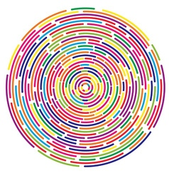 Colorful dashed random concentric circles abstract vector image
