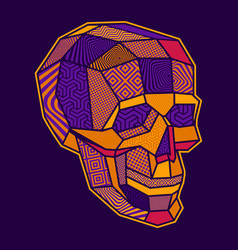 Coloured a lowpoly geometric skull vector