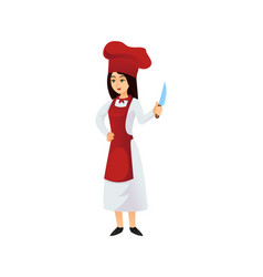 cook woman with knife vector image