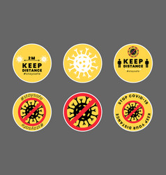 Covid-19 icons set yellow social distance vector