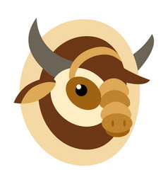 Cow head flat on white vector