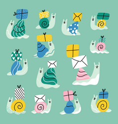 cute cartoon snail mail collection vector image