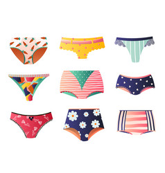 Cute colorful panties set isolated on white vector