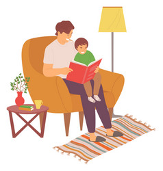 Dad reading book with son family leisure vector