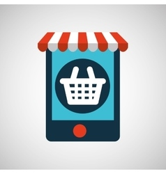 digital e-commerce basket market buy graphic vector image