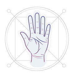 Divination by lines on a hand palm reading or vector
