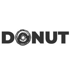donut font text vintage label vector image