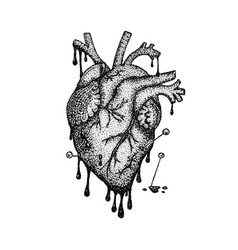 Dotwork heart with blood vector