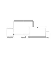 electronic devices set line style vector image