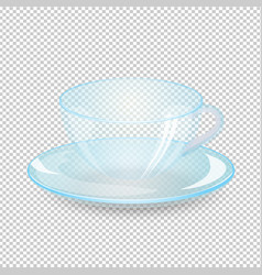 Empty cup and saucer isolated on transparent vector