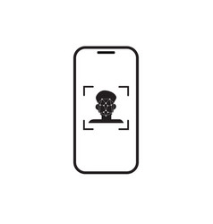 Face scan recognition system smart phone icon vector