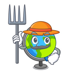 farmer globe character cartoon style vector image