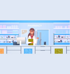 female doctor pharmacist with clipboard standing vector image
