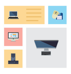 flat icon laptop set of processor notebook pc vector image