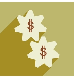 Flat with shadow icon gears and dollar vector