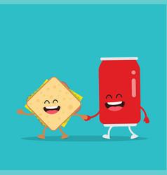 funny sandwich cola vector image