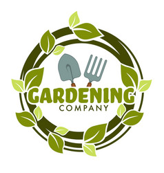 gardening company isolated icon spade and forks vector image