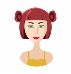 Girl hair ponytails icon cartoon style vector image