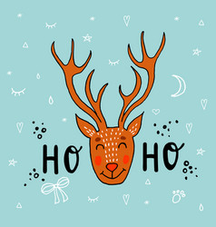 hand drawn deer funny vector image