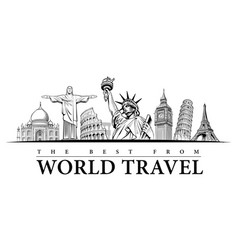 hand drawn travel destinations-famous places vector image