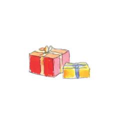 hand drawn watercolor christmas presents vector image