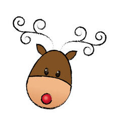 Happy cartoon christmas reindeer animal cartoon vector