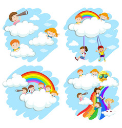 Happy children playing on rainbow vector