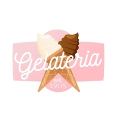 Icecream badge food logo vector