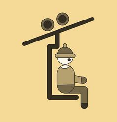 icon in flat design man on ski lift vector image