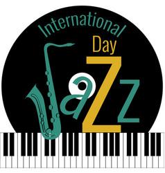 International jazz day piano keys vinyl record vector