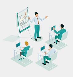isometric business training or courses business vector image