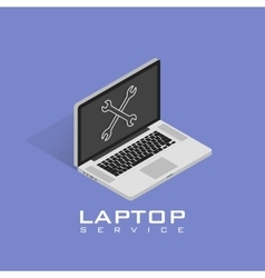 Isometric Laptop repair icon Service maintenance vector