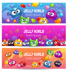 Jelly world banners cute colorful templates with vector