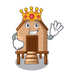 King chicken in a wooden cartoon coop vector
