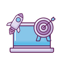 laptop with rocket and target vector image