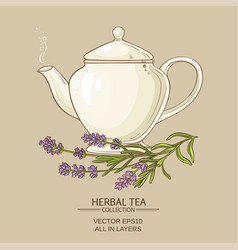 Lavender tea in teapot vector
