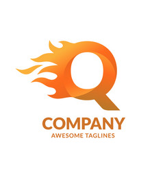 letters q and fire logo vector image