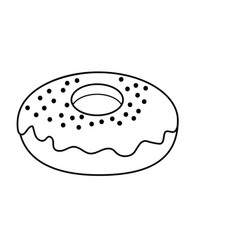 Line dlicious and sweet donut bakery vector