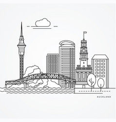 linear of auckland new zealand vector image
