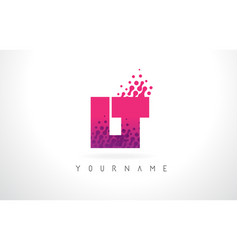 Lt l t letter logo with pink purple color and vector