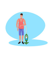 man cleaning floor with vacuum cleaner housework vector image