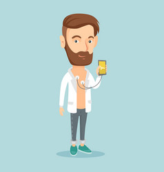 man measuring heart rate pulse with smartphone vector image