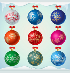 matt colorful christmas balls with red bows vector image