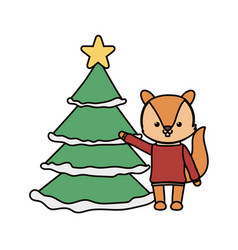 merry christmas celebration squirrel with sweater vector image