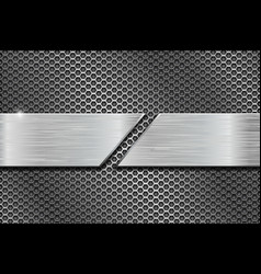 Metal perforated background with plates vector