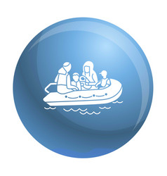 Migrant family boat icon simple style vector