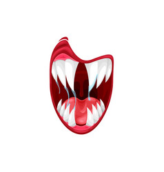Monster mouth icon creepy yell alien jaws vector