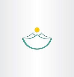 mountains and sun stylized landscape icon vector image